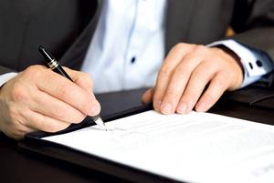Подписание договора на право собственности на квартиру